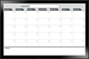 24h x 36l black framed magnetic dry erase monthly calendar
